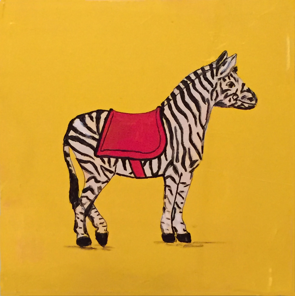"Zebra . Acrylic on board. 8""x8""x1.5"". $350."