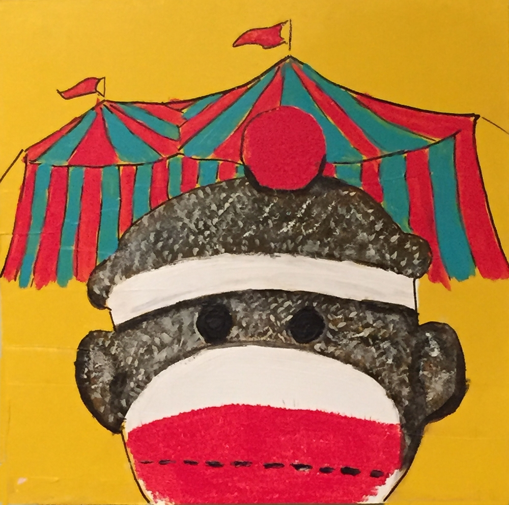 "Sock Monkey Visits the Circus . Acrylic on board. 8""x8""x1.5"". $350."