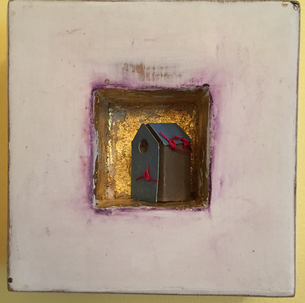 "Tiny Blue House . Limestone clay, acrylic, 24k gold leaf on board. Tiny house made from pastel painting. 5""x5""x2"". $150."