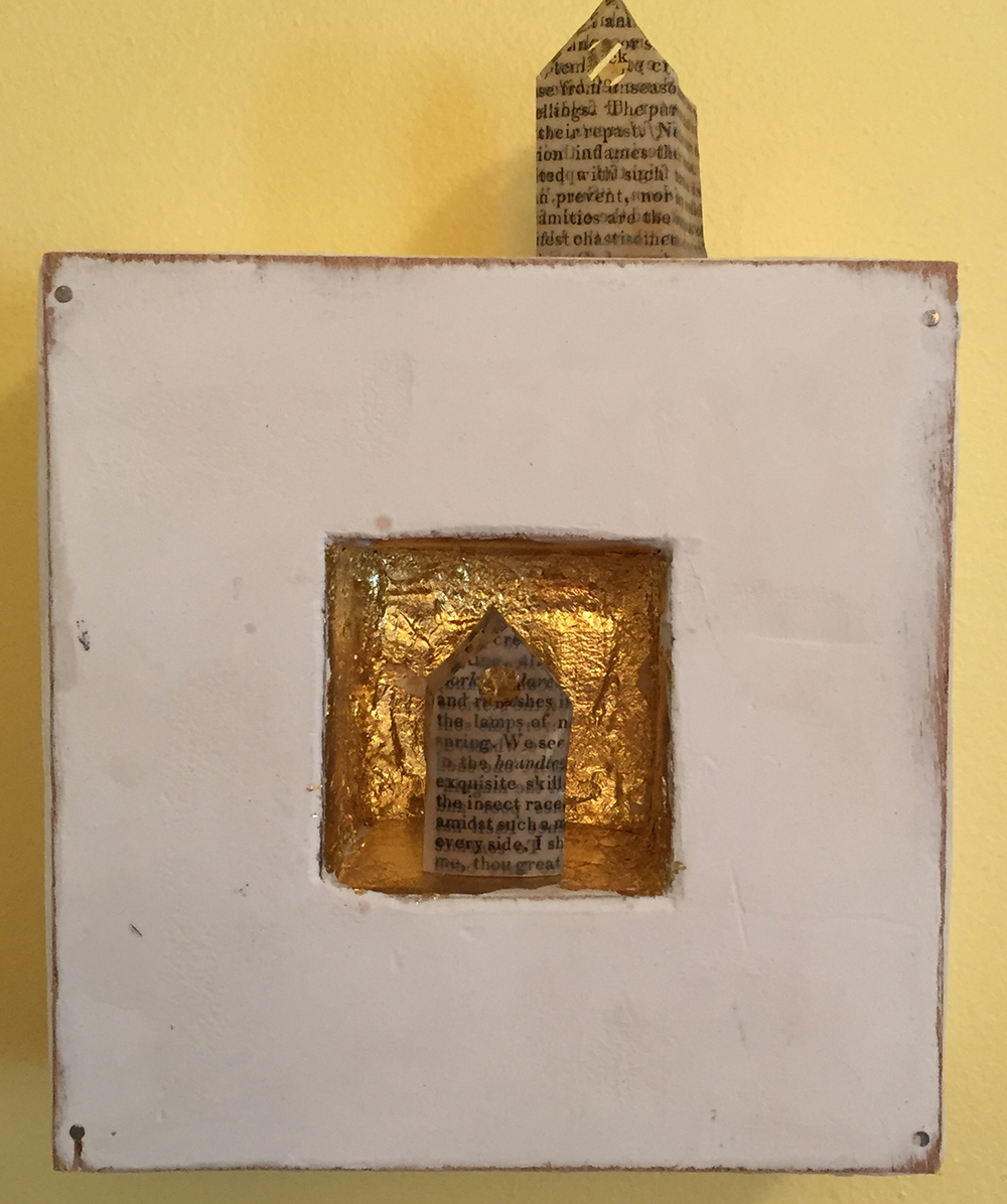"Tiny Book Page Houses . Limestone clay, acrylic, 24k gold leaf on board. Tiny houses made from old book pages. 5""x5""x2"". $150."