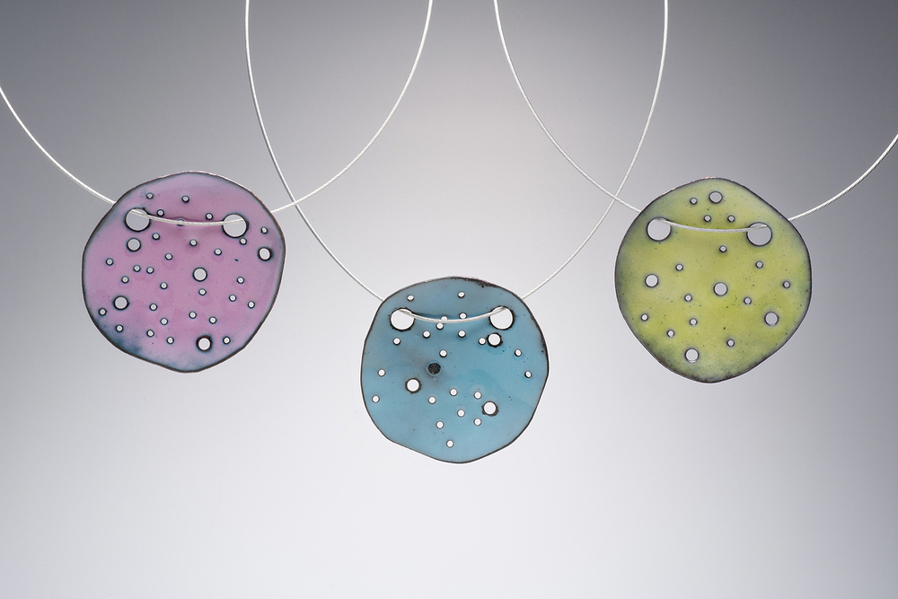Holey Moley Necklaces. Enamel on Copper.  Stainless steel neck cable w/ magnetic clasp.