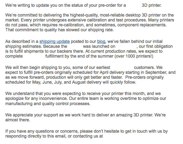 Reply from 3D printer manufacturer.