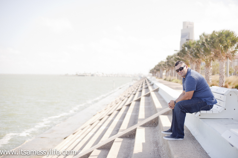 "This guy being my ""sexy model"" while we were scouting for photo spots for the wedding in Corpus Christi!"