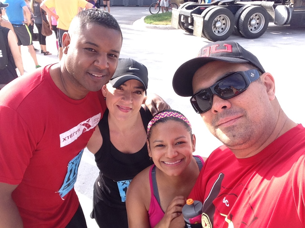 Before the race with our friends, Jessica & Geron.  This was their first official race ever! So excited for them :)