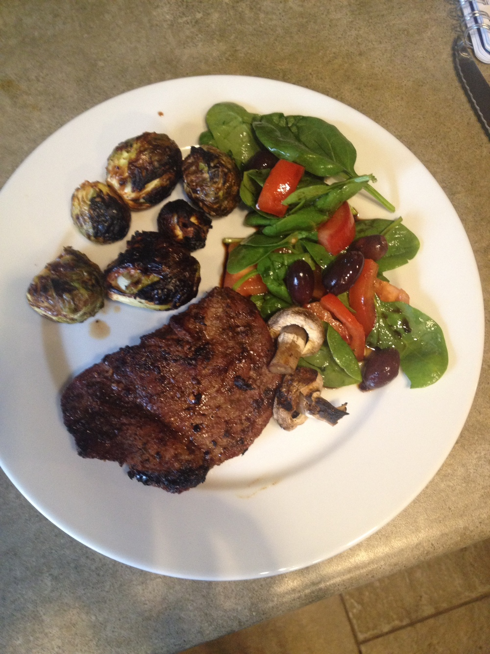 Simple Grilled Steak with grilled brussels sprouts and salad