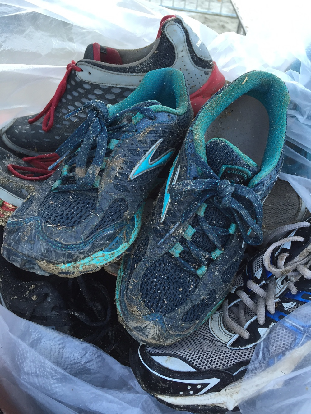 We donated our shoes! They ran some good races, but it was time to retire them.