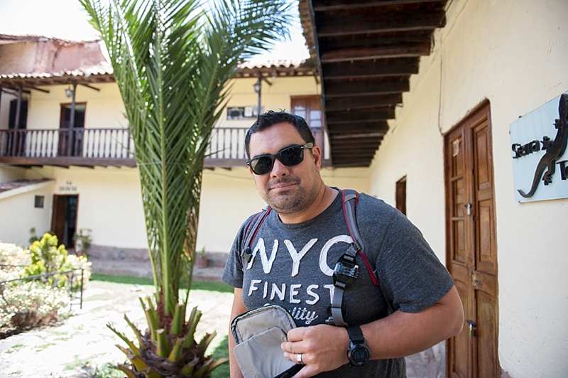 Here's the hubs at the entrance to our hotel when we arrived at Cusco. I loved the courtyard and we had the cutest room!