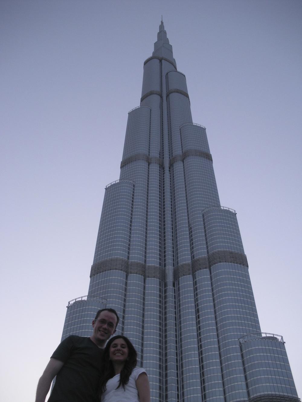 Whitney and I at the base of the Burj Khalifa