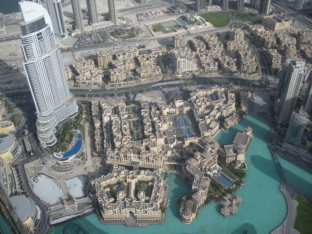 View from the top. The Address Hotel and lagoon.