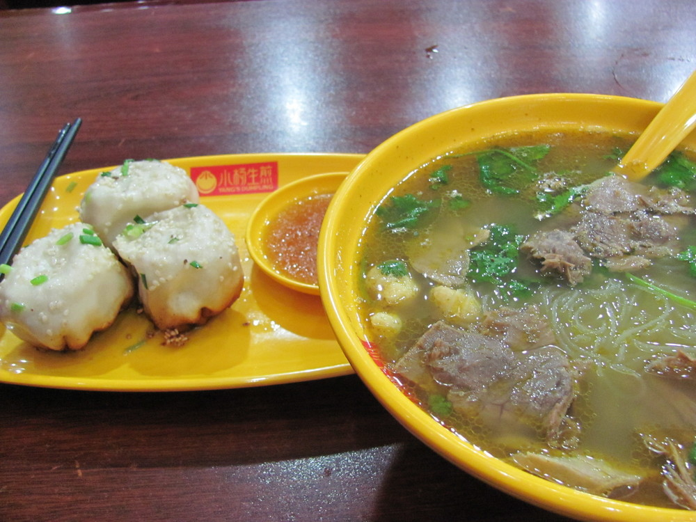 Ms. Yang's pan fried dumplings and beef noodle soup