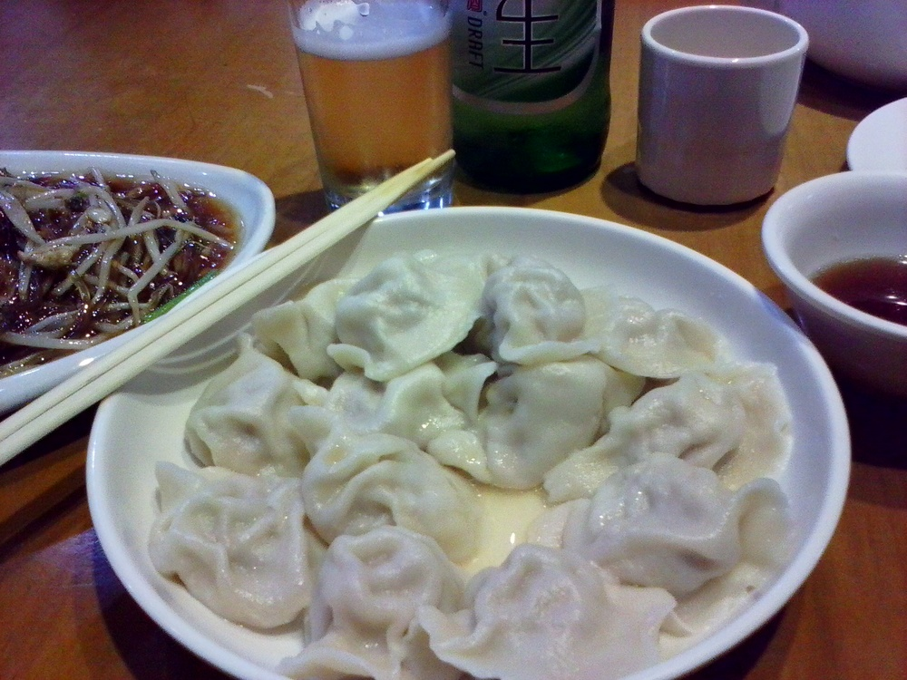 First meal: pork dumplings and bean sprout noodle