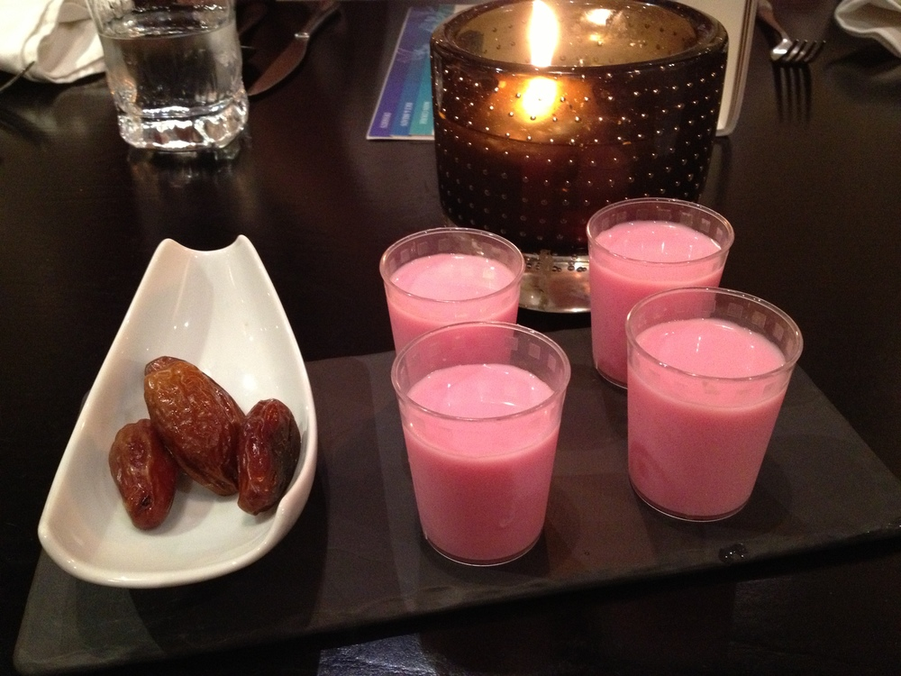 Traditional dates and rose-water.  If you like drinking perfume, you will love rose-water.
