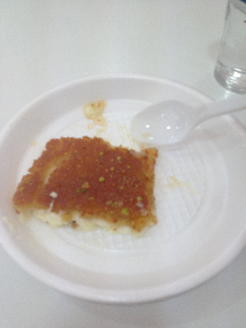 Kunafa is a very greasy desert that is made out of cheese and I do not know what else.