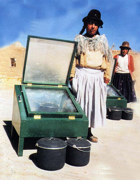 Bolivian woman with a solar stove