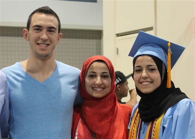 The three victims of Tuesday's shooting, left to right: Deah Barakat, 23; his wife, Yusor Abu-Salha, 21; her sister, Razan Abu-Salha, 19
