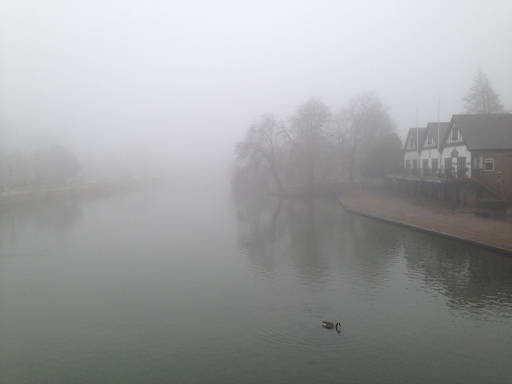 The Great River Ouse on a foggy, soggy day.