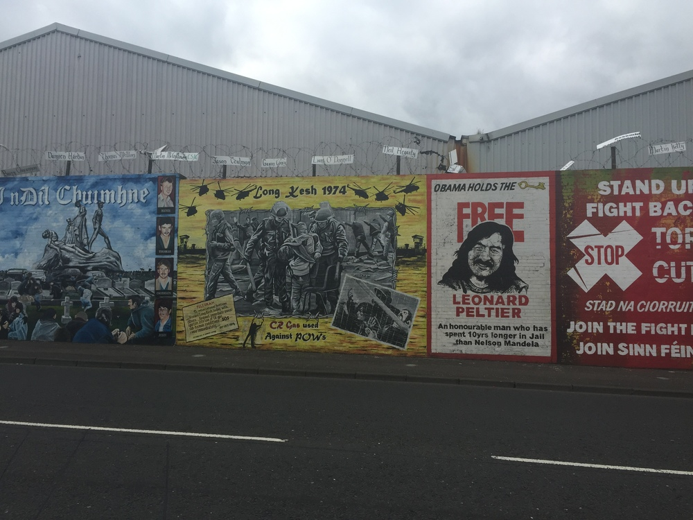 Murals for peace and in remembrance of murdered citizens who fought for equality.