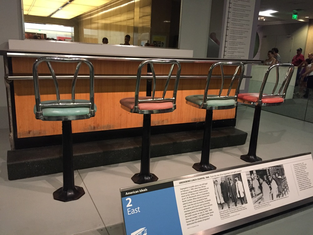 Greensboro lunch counter from 1960. Student protestors sat in these very seats 55 years ago and their activism ultimately led to the desegregation of lunch counters.