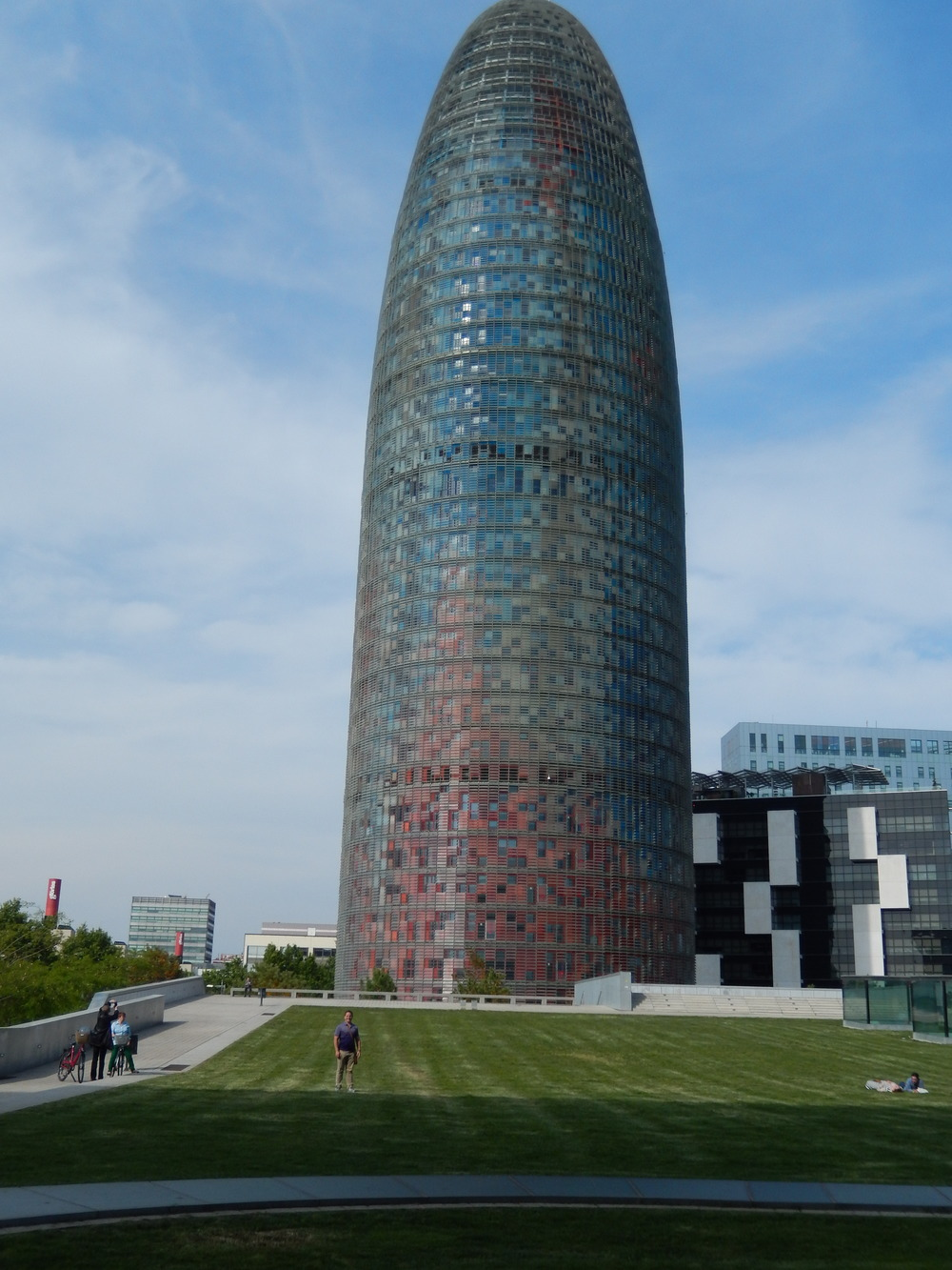 Here's the Torre Agbar, and me in the purple for scale.