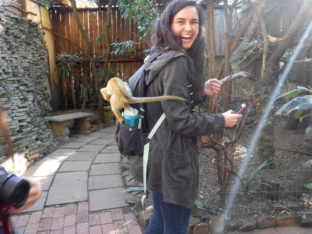 Zoe with her monkey