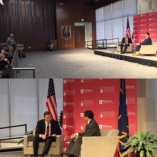 Candidates for Utah's Third Congressional District @jasoninthehouse and @teng4utah join Director Jason Perry to talk education, healthcare, and other policy issues. Watch live at hinckley.utah.edu. #ID2016 #utpol