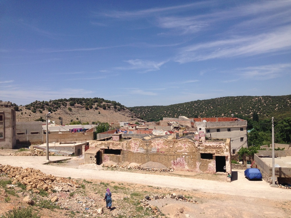 The village of Zaouia Sidi Abdessalam, which is just up the road from Ifrane.  This is our view from the center where we teach.