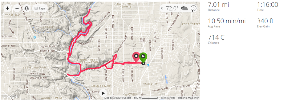 My seven-mile run: a mostly consistently flat out-and-back loop along the road in Rock Creek Park. I went off on a fairly rugged side trail for probably about 2 miles in the middle stretch, which kind of put a dent in my pace.