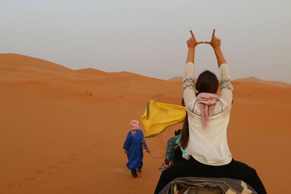 Flashing the U on my camel named Suzanna.