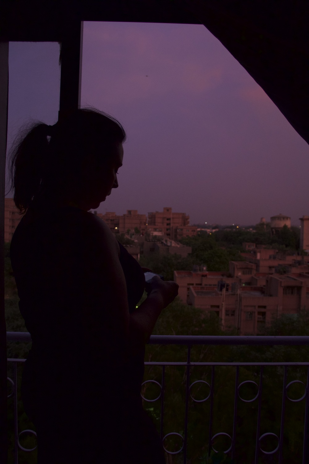 The view from Angie's bedroom - sunsets over South Delhi