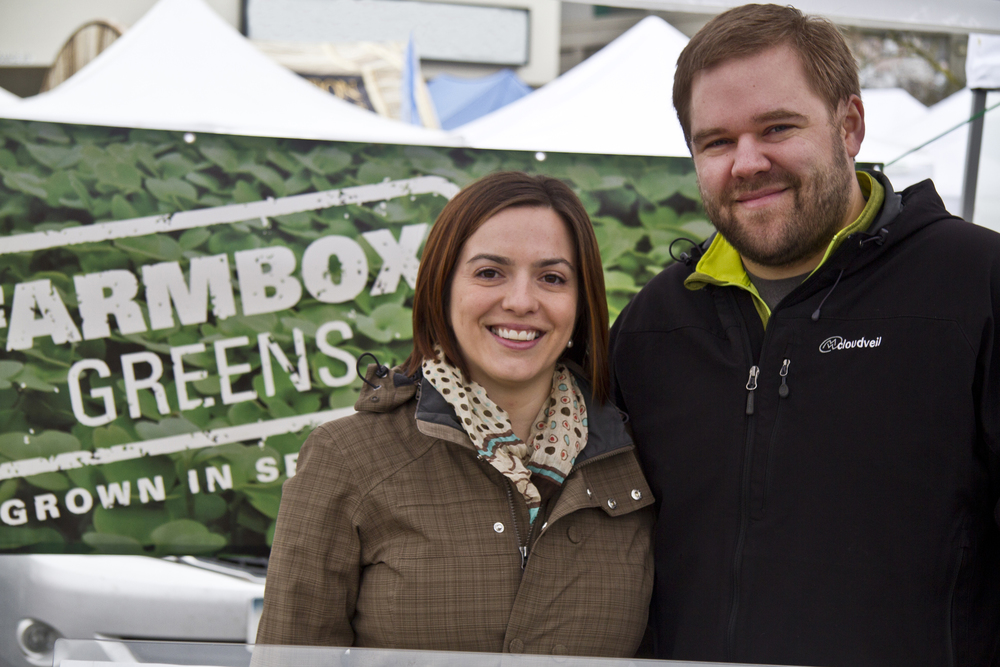 Dan and Lindsay at the West Seattle Farmers Market.