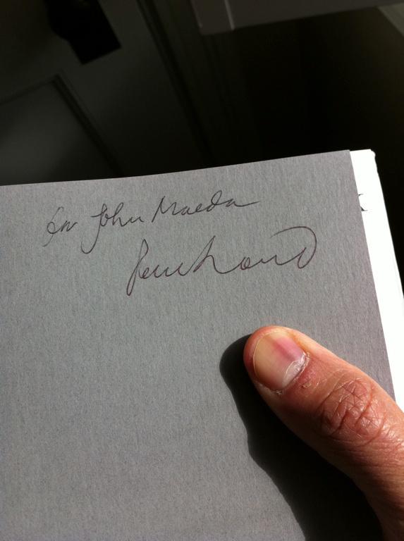 Paul Rand inscription to John Maeda from his post.