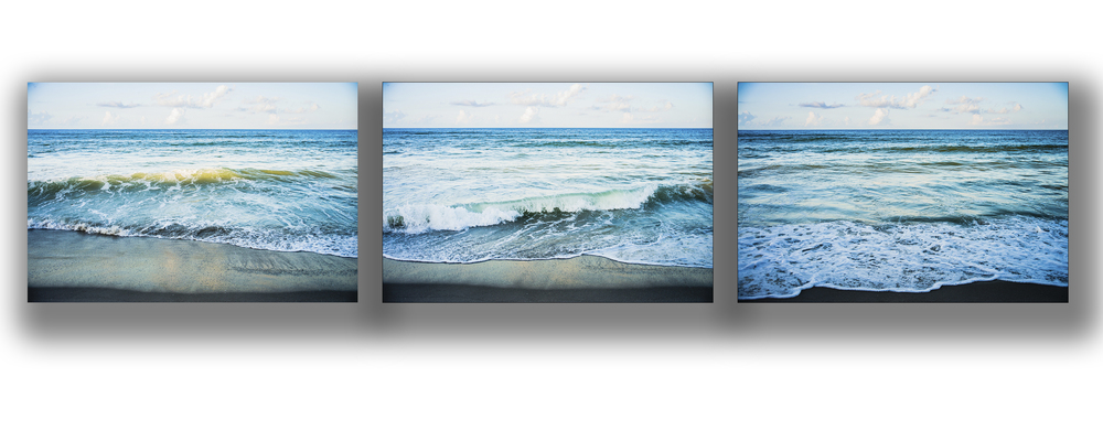 One of my favorite things is creating photographic wave groupings.  When the tide, the sky, the light, and the wave action all come together, it creates a soothing, rhythmic series that works beautifully in a hallway, boardroom, registration desk, or other healthcare space that calls for evidence based design.