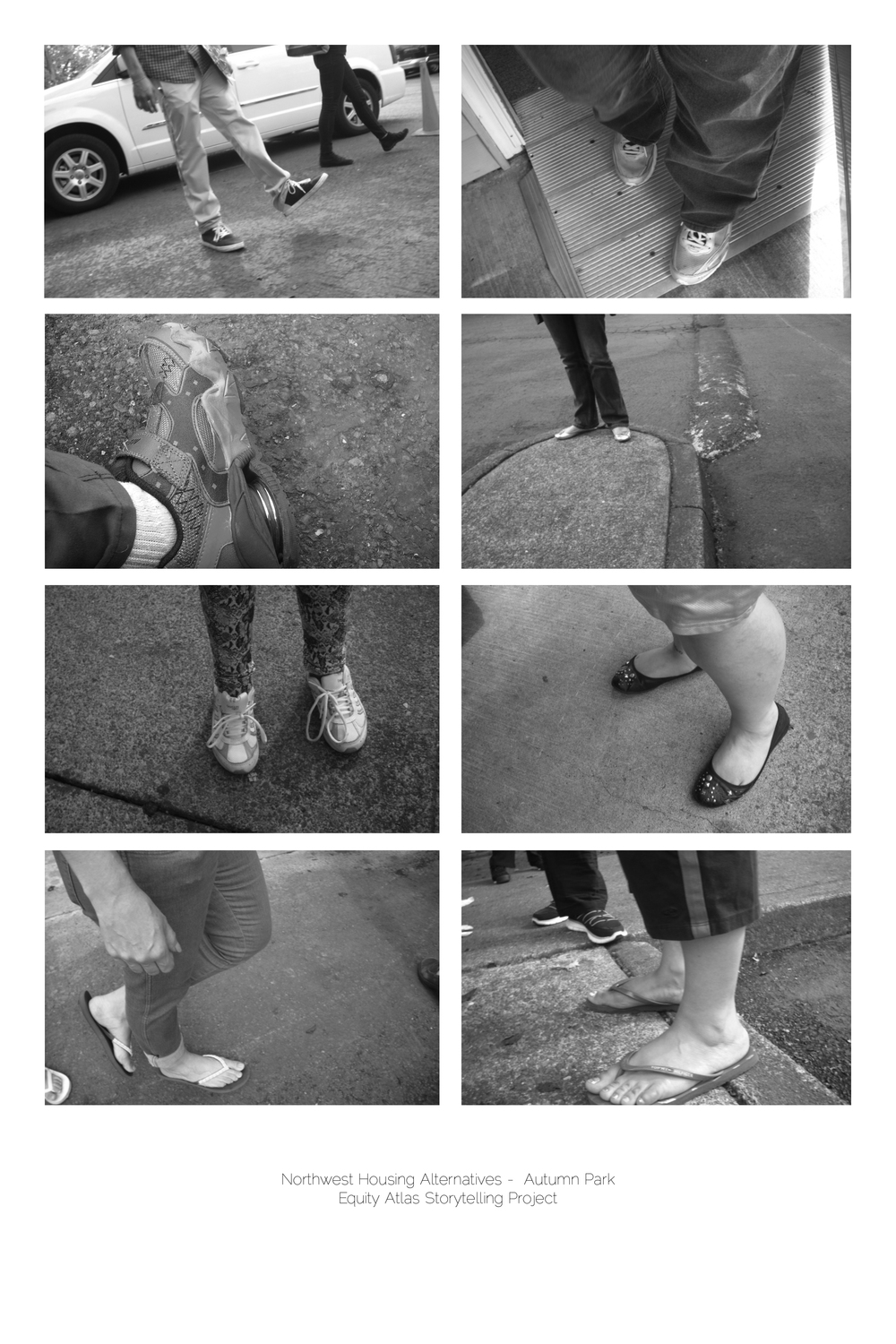 Many of the Autumn Park photos were taken by children. The children were encouraged to use their cameras to capture whatever images of their community sparked their interest and imaginations; two of the children decided to focus on their neighbors' feet.   Equity Atlas Storytelling Project: Northwest Housing Alternatives - Autumn Park