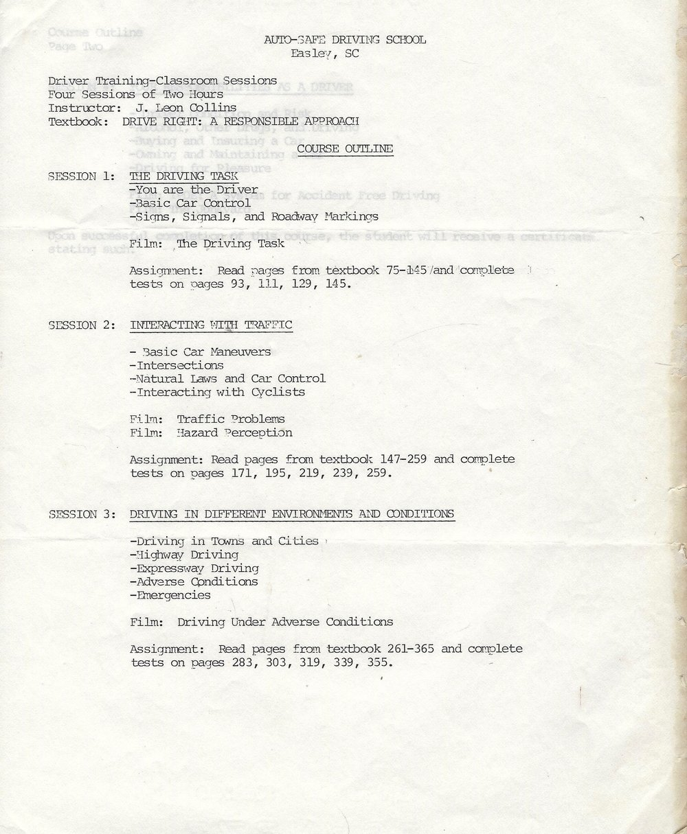 "Original Course Outline for ""Drive Right"" 1991"