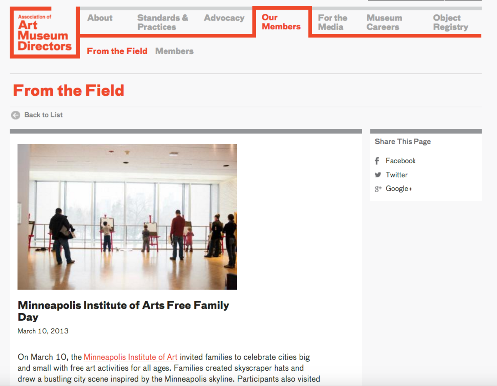 Association of Art Museum Directors Website