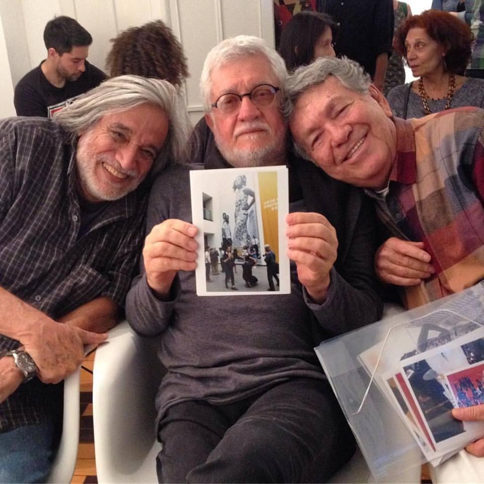 Luiz Garrido, Walter Carvalho e Evandro Teixeira na pré-estreia da nova temporada de Caçadores da Alma, de Sílvio Tendler