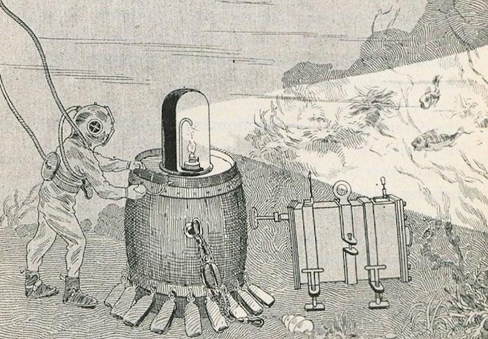 Esquema para fotografar embaixo d'água usado por Louis Boutan © Bibliothèque Nationale de France, Département des Estampes et de la Photographie.