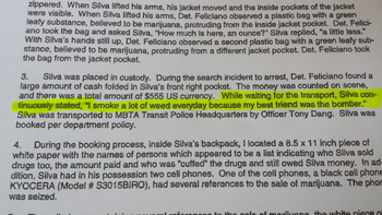 A portion of a police report written by MBTA detectives after Stephen Silva was arrested on drug charges outside the JFK/UMass redline T stop on Nov. 21, 2013.