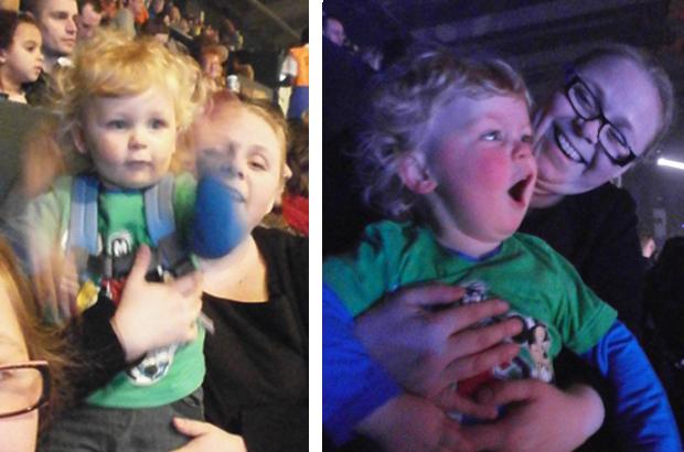 All a blur: Jacob having fun singing and dancing