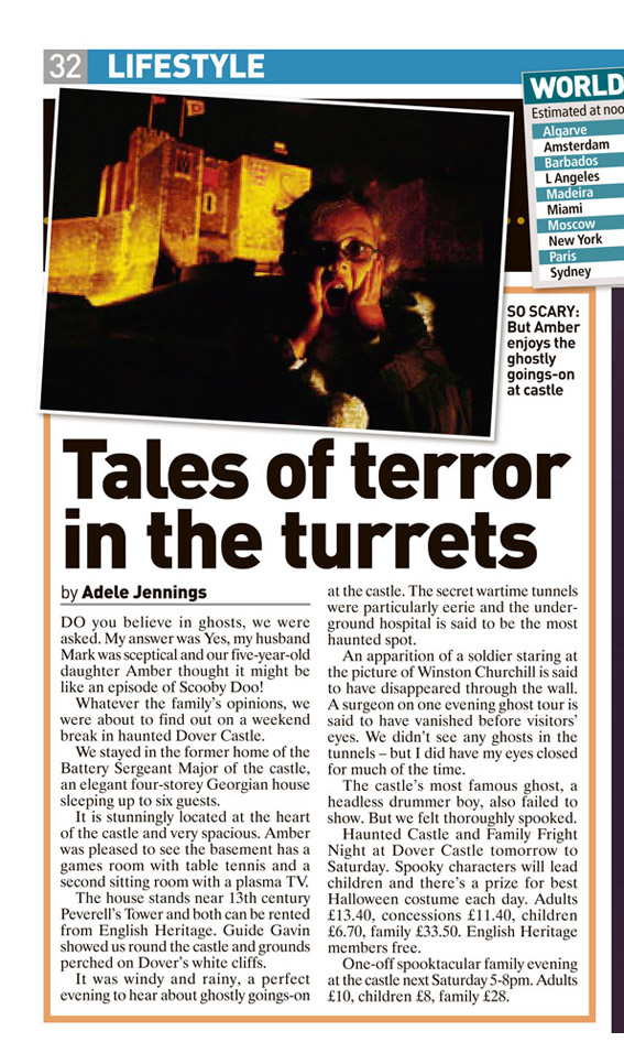 Travel piece from when we visited Dover Castle and stayed for a couple of nights! Published in The Sunday People, October 25, 2009