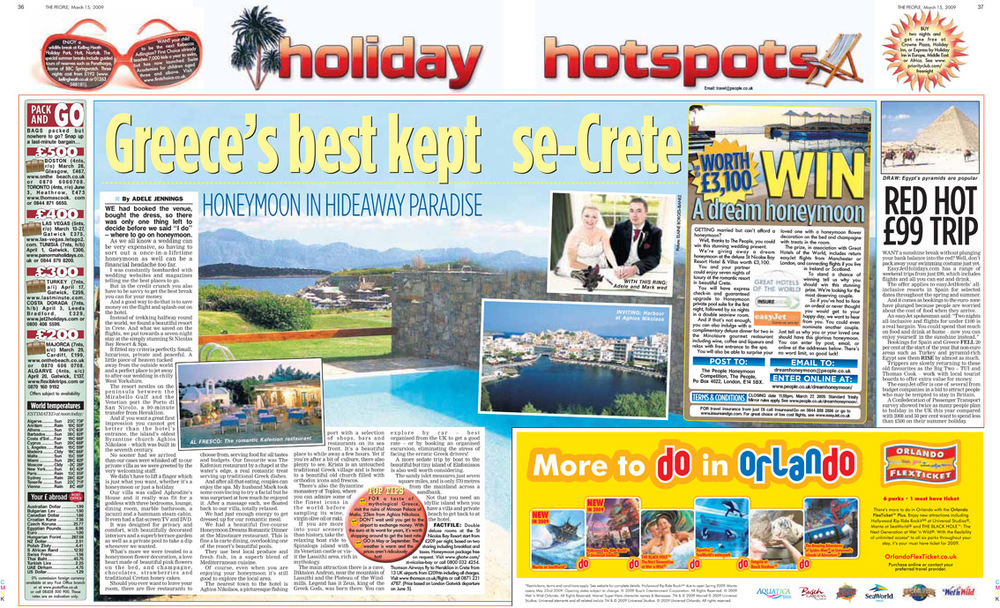 Travel piece about our honeymoon destination. Published in The Sunday People, March 15, 2009