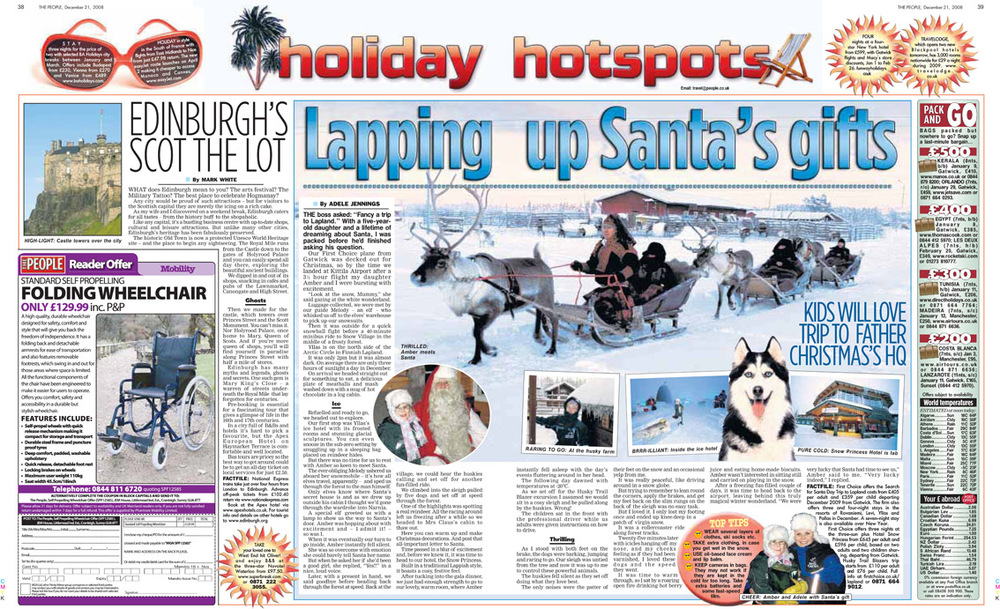 Travel piece from when I took Amber to Lapland. Published in The Sunday People, December 21, 2008