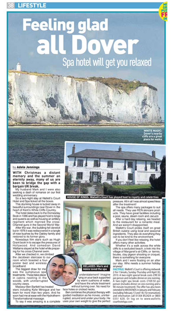Travel piece from when my husband Mark and I stayed at Wallett's Court Hotel and Spa in Dover, Kent. Published in The Sunday People, January 17, 2010