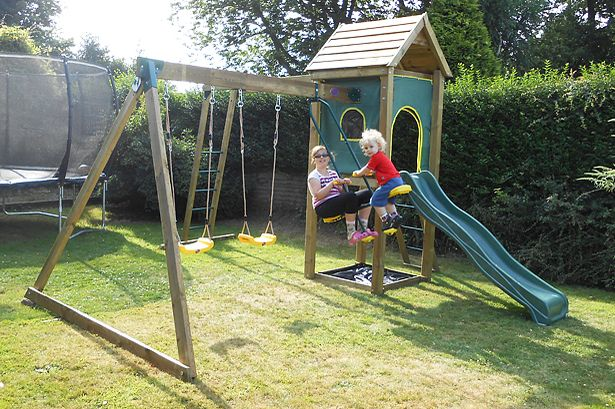 Amber and Jacob having fun on the Kudu Wooden Play Centre from Plum