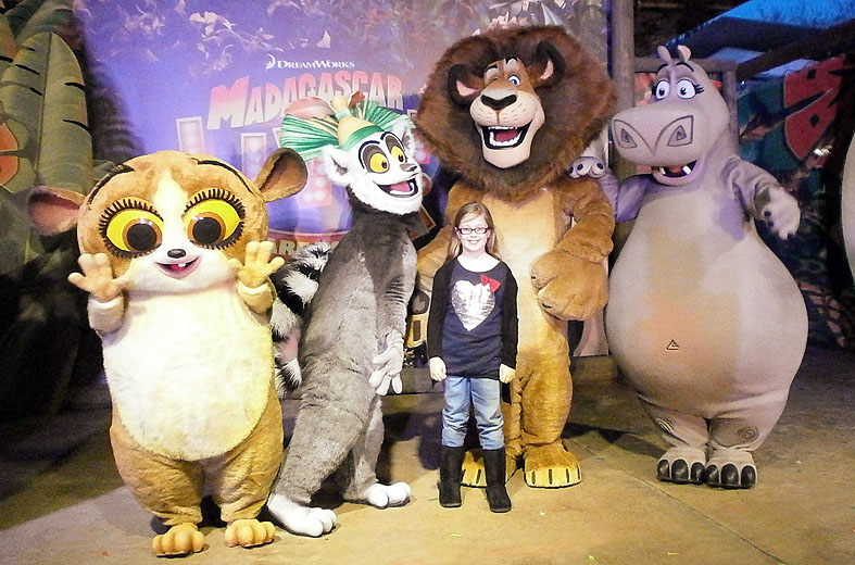 Amber with the characters from Madagascar