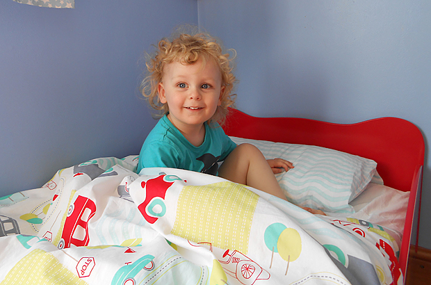 Jacob in his toddler bed