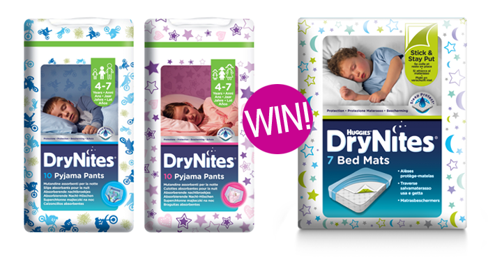 WIN a   DryNites® night time kit including four packs of DryNites® Pyjama Pants and two packs of DryNites® Bed Mats
