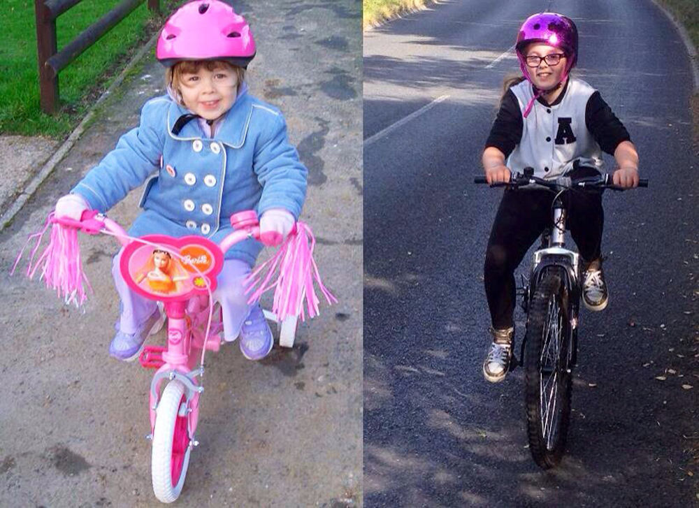 Amber with her first bike when she was 3, and recently after her Bikeability course at school
