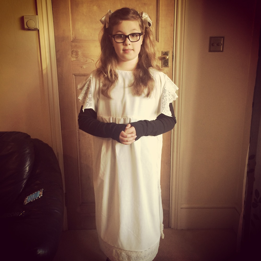 Amber in the Victorian schoolgirl outfit I made, you can just see the bottom. Looks good with the Earlybird filter in Instagram, would be better without the iPod in shot though!