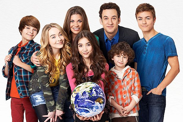 Disney Channel's 'Girl Meets World' stars Corey Fogelmanis, Sabrina Carpenter, Danielle Fishel, Rowan Blanchard, Ben Savage, August Maturo and Peyton Meyer.